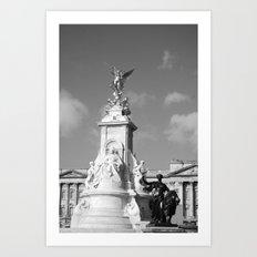 Queen Victoria's Statue b&w Art Print