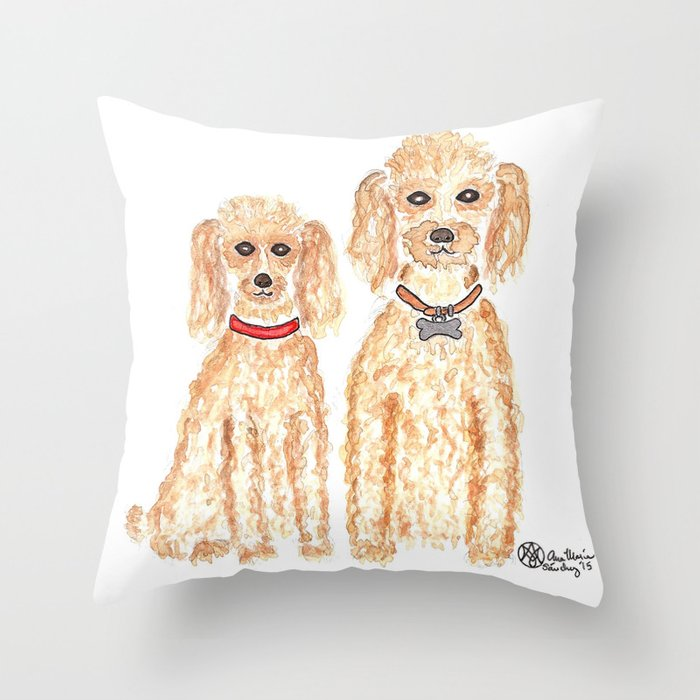Red Poodles Throw Pillow