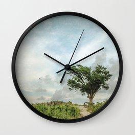 Windswept Tree on Barrier Island North Carolina Wall Clock