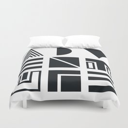 Geometric Adventure B&W Duvet Cover