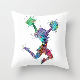 Cheerleader Art Girl Poms Dance Cheerleader Gifts Watercolor Print Sports Poster Dancing Gift Throw Pillow