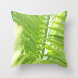 Palm leaves in summer light Throw Pillow