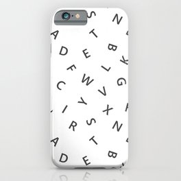 The Missing Letter Alphabet W&B iPhone Case