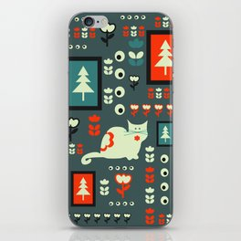White cat and holiday decor iPhone Skin