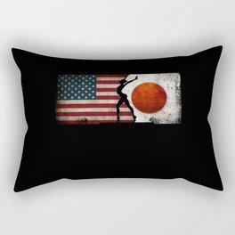 Gymnastics Balance Beam Women USA Flag Tokyo 2021 Rectangular Pillow