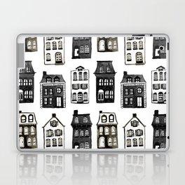 Mansard Mansions in Black + White Watercolor Laptop & iPad Skin