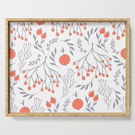 Red Berry Floral Serving Tray