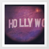 hollywood Art Prints featuring Hollywood by anthonygeorgis