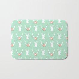 Deer antlers deer head silhouette cute modern minimal nature inspired nursery decor Bath Mat