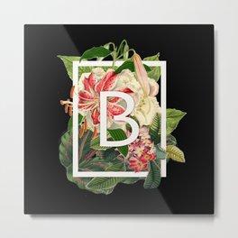 Floral Monogram - B Metal Print