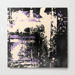 Grunge Paint Flaking Paint Dried Paint Peeling Paint Black Purple Beige Metal Print