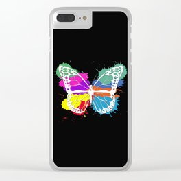 Grunge butterfly Clear iPhone Case