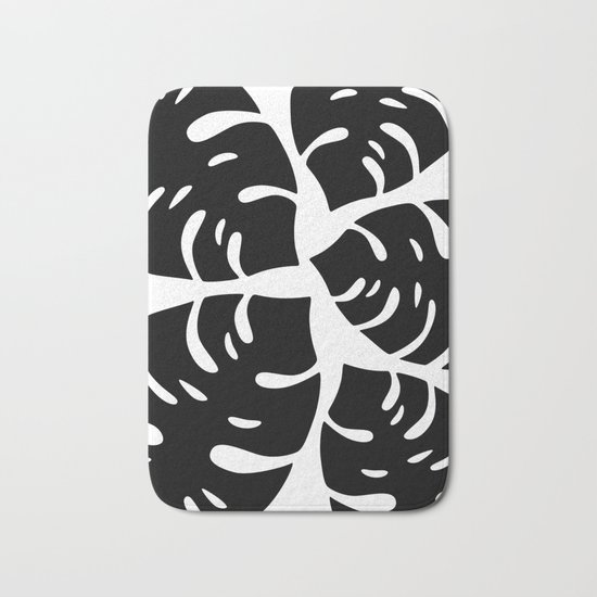 Black and White Palm Leaves Bath Mat