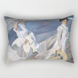 """Paseo a orillas del mar """"Promenade au bord de la mer"""", Joaquín Sorolla, 1909 Rectangular Pillow"""