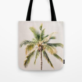 Palm tree - beige minimalist tropical photography in hd Tote Bag