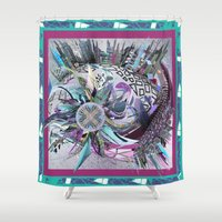 manchester Shower Curtains featuring Manchester whirl by Sabah