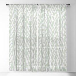 Light green herringbone pattern with cream stripes Sheer Curtain