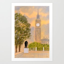 Winston Churchill And Big Ben Art Print