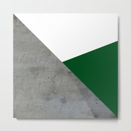 Concrete Festive Green White Metal Print