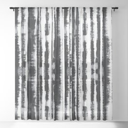 Tie-Dye Shibori Stripe BW Sheer Curtain