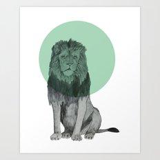 sitting lion Art Print