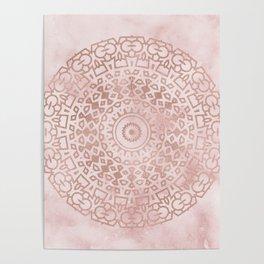 Misty pink marble rose gold mandala Poster