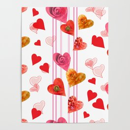 seamless  pattern with hearts and flowers Poster