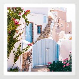 Santorini, Floral Garden Art Print