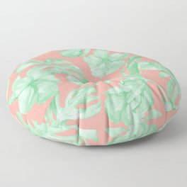 Tropical Palm Leaves Hibiscus Flowers Coral Green Floor Pillow
