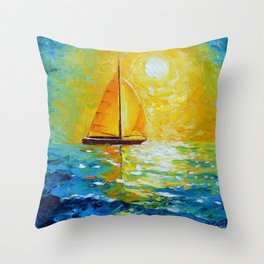 Sailboat in the sunlight Throw Pillow