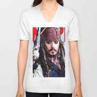 jack sparrow V-neck T-shirts featuring Jack Sparrow by Brian Raggatt