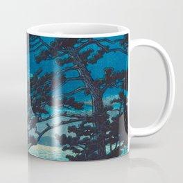 Vintage Japanese Woodblock Print Moonlight Over Ocean Japanese Landscape Tall Tree Silhouette Coffee Mug