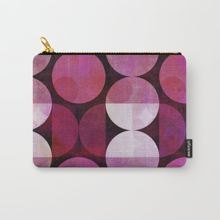 fashionable red pink grunge circle pattern Carry-All Pouch