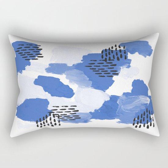 Painted blue abstract monochromatic minimal modern art painting dorm college gender neutral design Rectangular Pillow