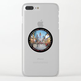 Times Square Sparkle (badge on black) Clear iPhone Case