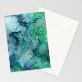 Abstract hand painted forest green blue lilac watercolor Stationery Cards