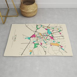 Colorful City Maps: Vilnius, Lithuania Rug
