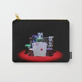 Four aces with gambling chips on red casino table Carry-All Pouch