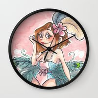 burlesque Wall Clocks featuring Burlesque 3 by Laeti Vanille