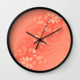 Coral Swirls leaves Wall Clock