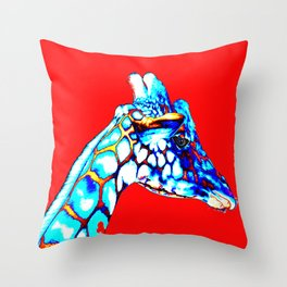 Colorful Giraffe Red (Right facing) Throw Pillow