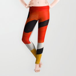 Colorful Mid Century Modern Abstract Fun Shapes Patterns Space Age Orange Yellow Orbit Bubbles Leggings