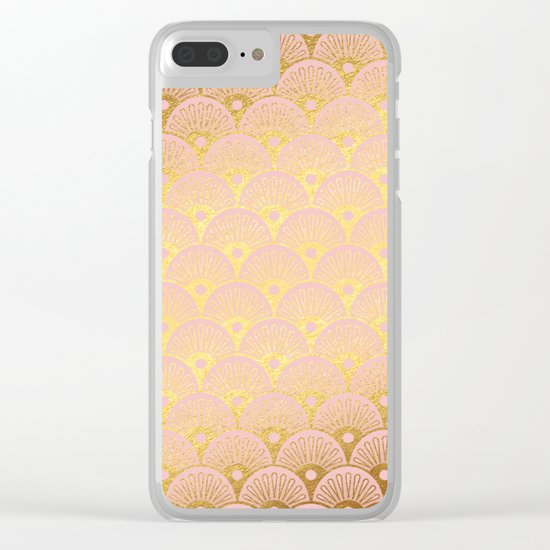 Gold and pink sparkling Mermaid pattern Clear iPhone Case