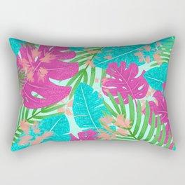 Boho Tropical Leaves Rectangular Pillow