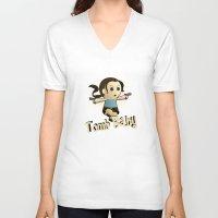 lara croft V-neck T-shirts featuring Geek Babies: Lara by Deanna Marie: Art & Design