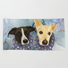 Two Elegant Dogs Wearing Floral Blue Scarves - Family Portrait Beach Towel