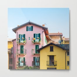 Pink and Yellow Houses, Bellagio Metal Print
