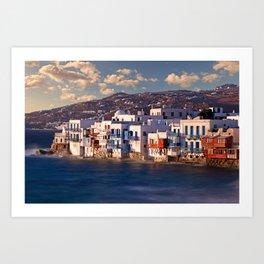 The picturesque Little Venice in Mykonos, Greece Art Print