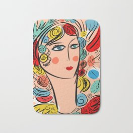 Nissa Girl Carnaval Portrait French Art Illustration Bath Mat