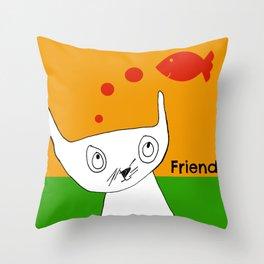 Fish Friend Cat Art by Child Throw Pillow